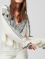 cheap -Women's Basic Lantern Sleeve Blouse - Floral Geometric, Print Deep V