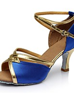 cheap -Women's Latin Shoes Satin / Patent Leather Sandal / Heel Splicing Slim High Heel Customizable Dance Shoes Blue