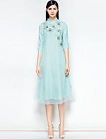 Недорогие -Жен. Винтаж Шинуазери (китайский стиль) А-силуэт Платье - Однотонный Цветочный принт Средней длины