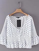 cheap -Women's Basic Blouse - Polka Dot V Neck