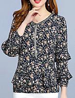 cheap -Women's Basic Cotton Slim Blouse - Floral, Print V Neck