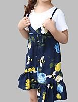 cheap -Girl's Daily Floral Dress, Cotton Spring Summer Short Sleeves Cute Blue Khaki