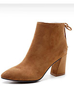 cheap -Women's Shoes Nubuck leather Fall Winter Fashion Boots Boots Chunky Heel Booties / Ankle Boots for Black Light Brown