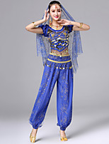 cheap -Belly Dance Outfits Women's Performance Spandex Embroidery Copper Coin Short Sleeves Dropped Top Pants Waist Accessory