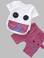 cheap -Unisex Daily Print Clothing Set, Polyester Spring Summer Short Sleeves Active Green Purple