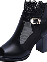 cheap -Women's Shoes PU Spring Fall Fashion Boots Boots Chunky Heel Peep Toe Booties / Ankle Boots for Black Dark Red
