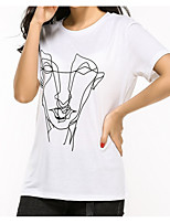 cheap -Women's Daily / Holiday Basic Cotton / Polyester T-shirt - Portrait Print / Summer