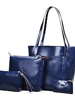 preiswerte -Damen Taschen PU-Leder Bag Set 4 Stück Geldbörse Set Reißverschluss für Büro & Karriere Schwarz / Rote / Grau