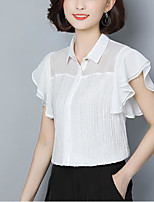 cheap -Women's Street chic Blouse - Solid Colored Shirt Collar
