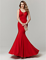 cheap -Mermaid / Trumpet Plunging Neckline Sweep / Brush Train Satin Prom / Formal Evening Dress with Beading by TS Couture®