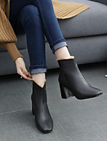 cheap -Women's Shoes PU Nubuck leather Spring Winter Comfort Boots Chunky Heel for Black Beige