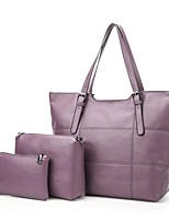 cheap -Women's Bags Leather Bag Set 3 Pcs Purse Set Zipper for Office & Career Red / Purple / Sillver Gray
