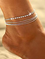 cheap -Bohemian Multi Layer Bikini Crystal Rhinestone Anklet - Women's Silver Bohemian Multi Layer Bikini Circle Geometric Alloy Anklet For Gift