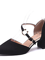 cheap -Women's Shoes PU(Polyurethane) Summer Comfort Heels Block Heel Round Toe Black / Pink