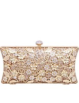 cheap -Women's Bags Polyester polyester fibre Evening Bag Crystal Detailing Embossed for Wedding Event / Party All Seasons Champagne Gold Black