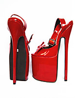 cheap -Women's Shoes PU(Polyurethane) Summer Basic Pump Heels Stiletto Heel Open Toe Bowknot Fuchsia / Red / Party & Evening