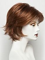 Недорогие -Человеческие волосы без парики Натуральные волосы Прямой Стрижка под мальчика Природные волосы Темно-коричневый Машинное плетение Парик
