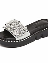 cheap -Women's Shoes Patent Leather Summer Comfort Slippers & Flip-Flops Flat Heel Round Toe Rhinestone for Black Silver