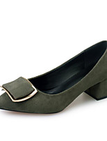 cheap -Women's Shoes Nubuck leather Spring Fall Basic Pump Comfort Heels Chunky Heel for Casual Black Army Green Pink