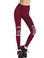 cheap -Women's Sporty Legging - Solid Colored, Cut Out Mid Waist