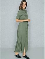 Недорогие -Жен. Изысканный Уличный стиль Оболочка Футболка Рубашка Платье - Однотонный Макси