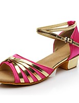 cheap -Women's Latin Shoes Silk Heel Low Heel Customizable Dance Shoes Fuchsia / Indoor / Practice