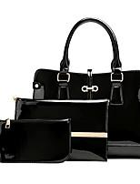 cheap -Women's Bags leatherette / PU Bag Set 3 Pcs Purse Set Zipper Black / Red / Purple