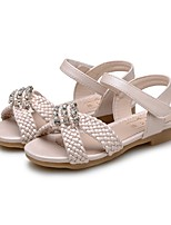 cheap -Girls' Shoes Leatherette Summer Comfort Sandals Rhinestone for Dress Beige Pink