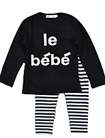 cheap -Unisex Daily Holiday Striped Clothing Set, Cotton Spring Fall Long Sleeves Active Black