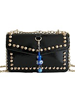 cheap -Women's Bags PU Shoulder Bag Rivet Zipper for Casual All Seasons Blue Black Blushing Pink Brown