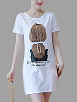abordables -Tee-shirt Femme, Couleur Pleine Portrait Lettre Mignon