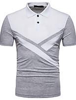 cheap -Men's Business Street chic Polo - Geometric Color Block Black & White, Patchwork
