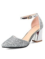 cheap -Women's Shoes Paillette Spring / Summer Basic Pump Heels Chunky Heel Pointed Toe Silver / Dark Purple / Party & Evening