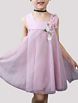 cheap -Girl's Daily Floral Dress, Rayon Polyester Summer Sleeveless Cute Blushing Pink Gray