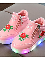 cheap -Girls' Shoes Leatherette Spring Fall Comfort Sneakers for Casual White Black Pink