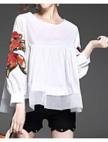 cheap -Women's Basic Blouse - Floral, Embroidered