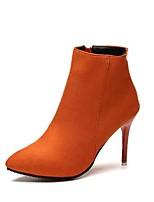 Недорогие -Жен. Обувь Полиуретан Осень Зима Модная обувь Ботинки На шпильке Заостренный носок Ботинки для на открытом воздухе Черный Оранжевый Серый