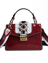 baratos -Mulheres Bolsas PU Leather Tote Detalhes em Cristal para Festa / Eventos Branco / Preto / Vermelho