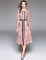 Недорогие -Жен. Изысканный Уличный стиль А-силуэт Платье - Цветочный принт, Кружева Вышивка Средней длины