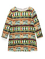 cheap -Girl's Daily Holiday Print Dress, Cotton Polyester Spring Fall Long Sleeves Cute Active Green