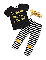 cheap -Girls' Daily Sports Striped Print Clothing Set, Cotton Polyester Summer Short Sleeves Cute Active Black