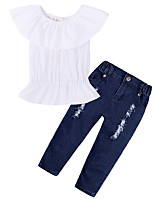 cheap -Girls' Daily Sports Solid Clothing Set, Cotton Spring Summer Short Sleeves Simple Casual White