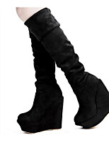 cheap -Women's Shoes Synthetic Microfiber PU Fall Winter Fashion Boots Boots Wedge Heel Knee High Boots for Black Brown