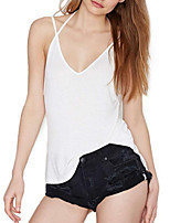 cheap -Women's Exaggerated Street chic Tank Top - Solid Colored Pleated