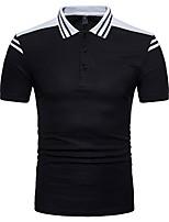 cheap -Men's Basic Cotton Polo - Color Block Shirt Collar