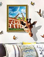 abordables -Autocollants muraux décoratifs - Autocollants muraux animaux Animaux 3D Salle de séjour Chambre à coucher Salle de bain Cuisine Salle à