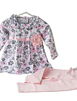 cheap -Girls' Daily Floral Clothing Set, Cotton Spring Long Sleeves Cute Blushing Pink