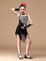 abordables -Danse latine Robes Fille Entraînement Utilisation Polyester Billes Paillette Gland Sans Manches Robe