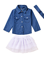 cheap -Toddler Girls' Solid Colored Long Sleeves Clothing Set