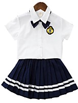 cheap -Girls' Daily School Solid Colored Clothing Set, Cotton Polyester Summer Short Sleeves Cute Active Navy Blue